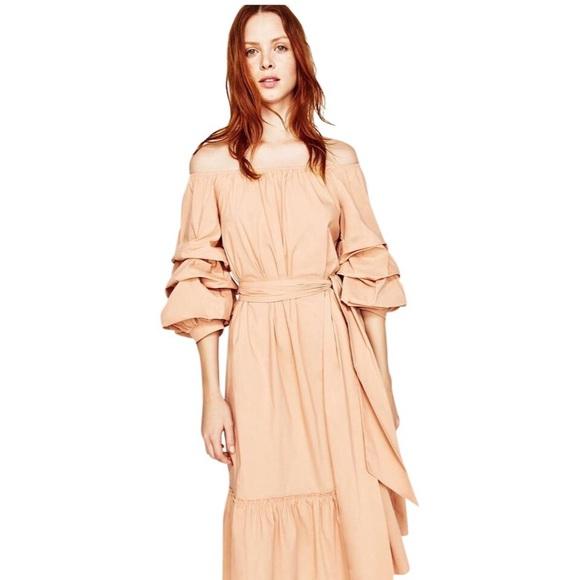 Zara Dresses & Skirts - Zara Nude Off The Shoulder Poplin Femme Midi Dress